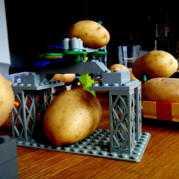 each potato was individually carried by it s own Lego carrier contributing to the potato individuality